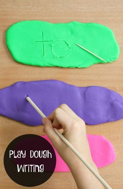 Use this play dough writing tray to practice writing letters, sight words, numbers and more. This is a great way for preschoolers to practice fine motor skills.