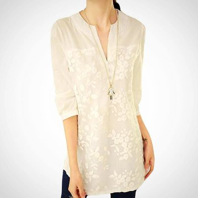 Ladies Plus Size Flower Lace Embroidery Print Top $24.99
