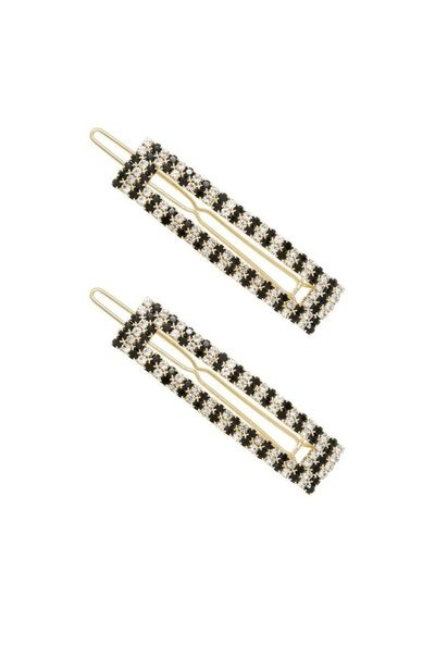 Black & Clear Crystal Rectangle Hair Barrettes �'�45.99