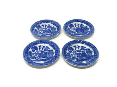 """Set of 4 Blue Willow Plates 3"""" Toy Child's Set Made in Japan / 4 China Toy Dishes / Pretend Play Toy Set / Vintage Play Set $29.99"""