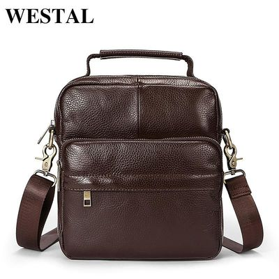 WESTAL Men's Shoulder Bag Genuine Leather Crossbody Men Bags Messenger Bag Men's Shoulder Bag $45.08