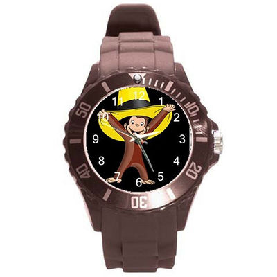 Curious George the Monkey w/ Yellow Hat on a Boys or Girls Brown Plastic Watch Band $28.99