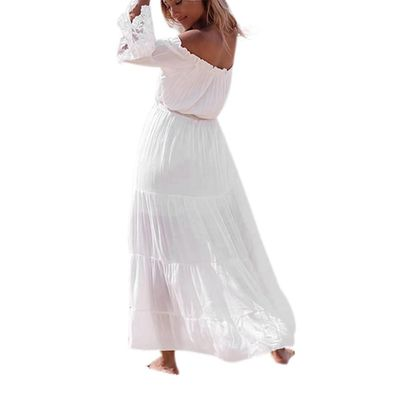 Women Sexy Strapless Beach Summer Long Dress Dresses Beach Dresses $23.92