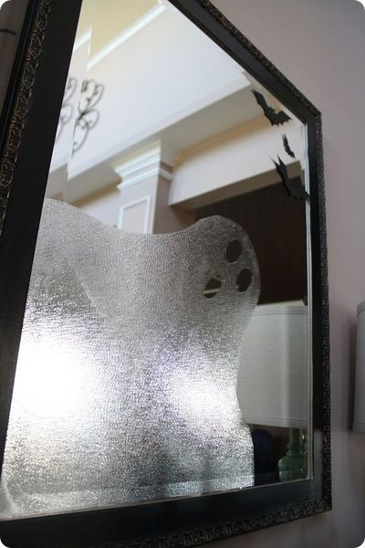 fabulous pictures: Use press 'n' seal to make a ghost in the mirror or window. Love it!