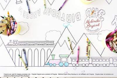 Train Birthday Decor Coloring Page Table Runner First Birthday Decorations Wedding Kids Table Children's Party Games Activities $28.74