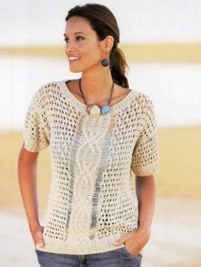 Summer Blouse Knitting Patterns : Free knitting pattern leaflet from katia for a beautiful