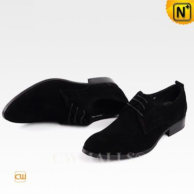 Men Leather Shoes | CWMALLS® Paris Nubuck Leather Lace-up Shoes CW708132 [Handmade, Free Shipping]
