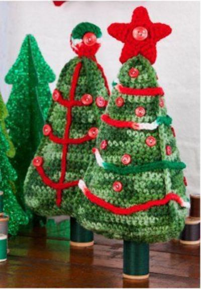 Crocheted Christmas Tree Duo
