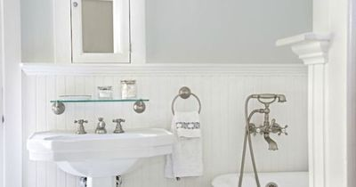 Suzie: Titan and Co - Lovely bathroom with silvery gray walls paint color, chair rail & ..Lovely bathroom with silvery gray walls paint color, chair rail & beadboard backsplash, glossy white pedestal sink, Restoration Hardware Vintage Glass Shelf,...