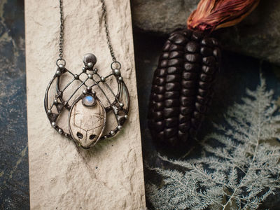 Pendant- Dream reader. Necklace with clay mask, natural moonstone. Shaman ( shamanic ) jewelry, ethno look, ethno style, witchcraft artefact $54.00