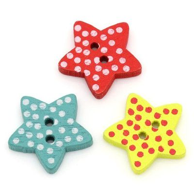 Pack of 50 Assorted Wooden Polka Dot Star Buttons. 15mm x 15mm Pentagram Shape. 2.6mm Thick. Perfect for Upholstery, Sewing and Needle Craft £3.19