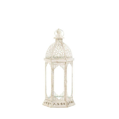 Graceful Distressed Small White Lantern $19.95
