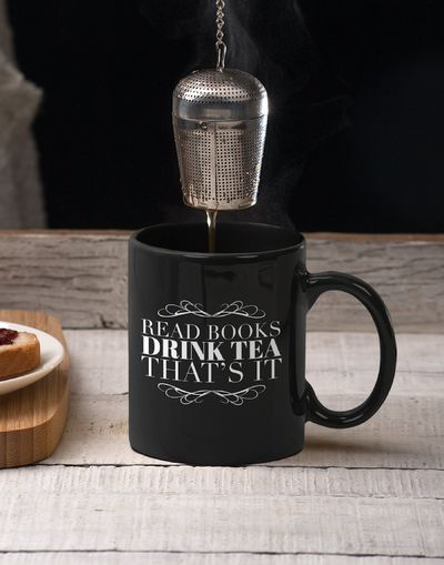 Book Lover Mug - Read Books Drink Tea Thats It Black Cup - Tea Drinkers Gift Idea - Librarian Present $24.95