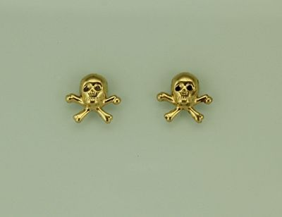 Gold Skull and Crossbone Magnetic Non Pierced Earrings $35.00 Designed by LauraWilson.com
