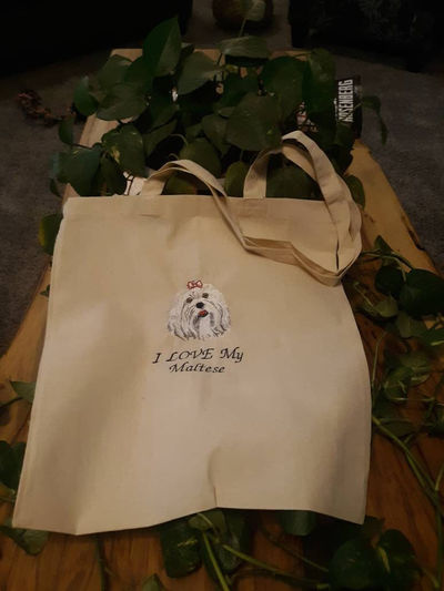 Eco Friendly Canvas Tote Bag- Favorite Dog Embroidered Tote Bag- Go Green Reusable Bag-Strong Recyclable Carryall Shoulder Bag-Market Bag $20.00