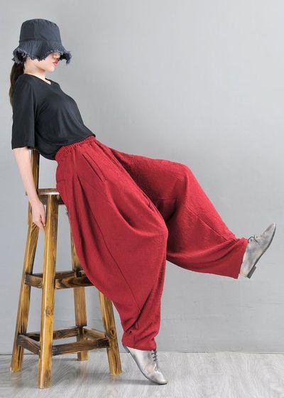 Harem Pants, Linen Yoga Pants, Drop Crotch, Wide Leg and High Waist, Brick red cotton jacquard pants, harem pants women
