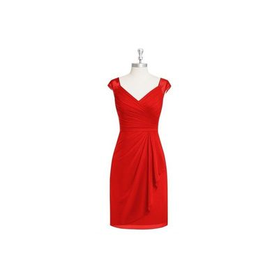 Red Azazie Fawne - Chiffon And Lace V Neck Illusion Knee Length Dress - The Various Bridesmaids Store