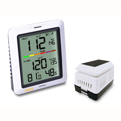 MISOL PM2.5 Air Quality Tester Monitor Wireless with Indoor Temperature and Humidity Solar Powered