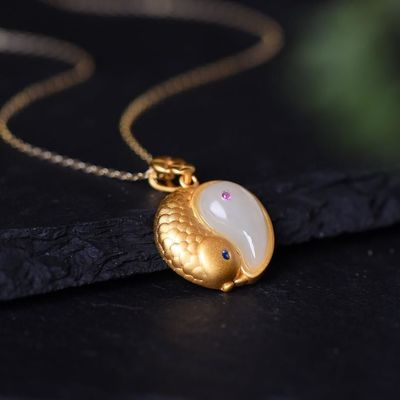 Unique Charm Jewelry - Amulet jewelry necklace - White jade fish Necklace - fish Pendant - Pendant Necklace Gift for Women