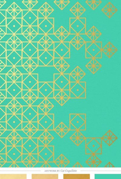 Turquoise and gold, art print by Cat Coquillette || Creature Comforts Blog
