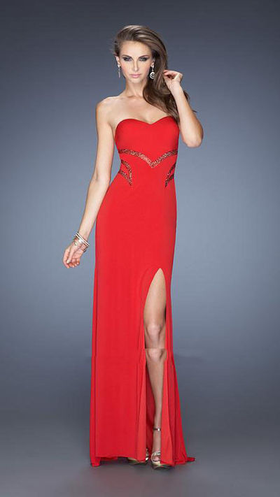 La Femme 20152 Sexy Floor Length Strapless Red Prom Gown for Sale