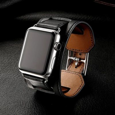 Luxury Classic Genuine Leather Cuff Bracelet for Apple Watch Series 5 4 3 2 $45.99