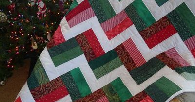 Christmas Stairs Scrap Quilt...You sew strips together in sets of three and then cut them into the blocks...makes it sew together REALLY fast.