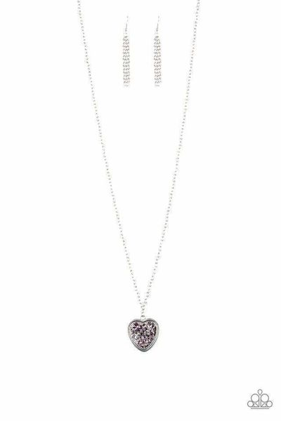 Paparazzi Heart of SPARKLE - Hematite and Purple Prism Rhinestone Encrusted Silver Heart Pendant Necklace $5.00
