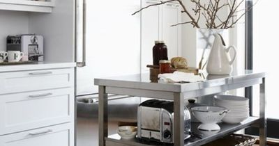stainless steel cart to use as kitchen island.