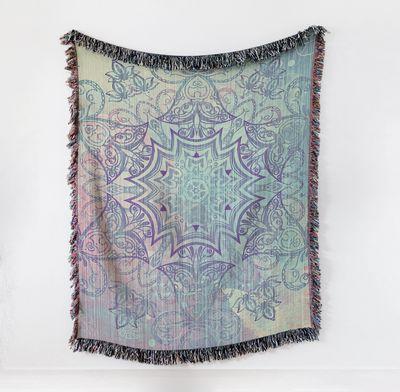 Mandala Blanket Woven Pastel Blanket or Tapestry Cotton Hippy Blanket $90.00