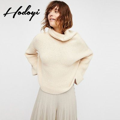 Oversized Vogue Simple High Neck Drop Shoulder Jersey One Color Spring Casual 9/10 Sleeves Sweater - Bonny YZOZO Boutique Store