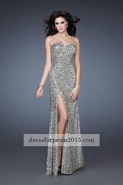 Elegant Sequined Gold/Black Strapless Sweetheart Long Evening Gowns Cheap