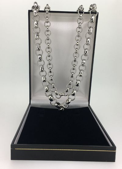 2 x Giant Luxury Silver plated Belcher chain Set Pattern and regular £59.95