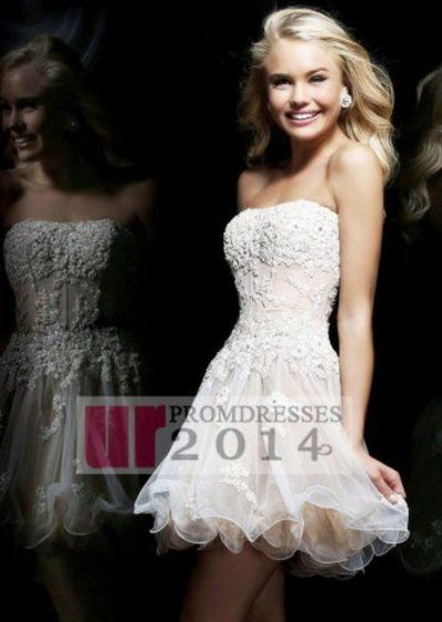 Ivory Nude Sequined Floral Lace Appliqued Homecoming Dresses