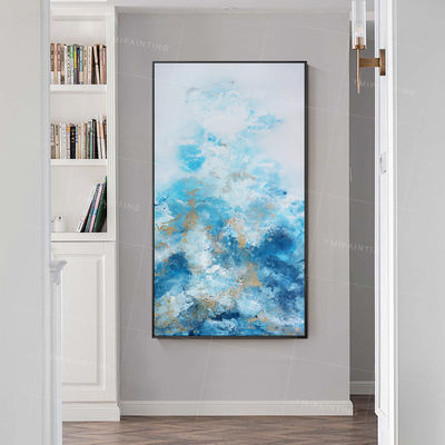 Gold art ocean Abstract paintings on Canvas Original art extra large acrylic blue seascape painting wall art framed painting $139.00