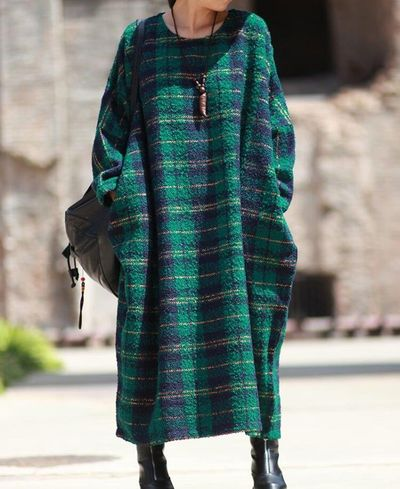 Women raglan sleeve Dresses, wool long dress, winter dress, wool robe, Women Maxi dress, green plaid wool dress