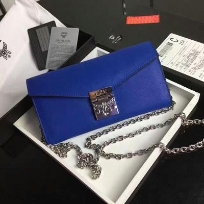 MCM Large Patricia Chain Wallet In Blue