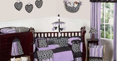 Purple and Black Kaylee Girls Boutique Baby Bedding - 9 pc Crib Set - such a cute set for a baby girl! Love the dots and swirls! #babygifts
