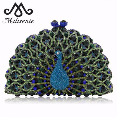 Peacock-Shape Women Metallic Luxury Wedding Clutch Bag $142.26