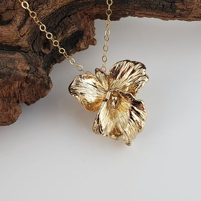Gold Plated Sterling Silver Cattleya Orchid Necklace - Orchid Necklace - Yellow Gold Necklace - Silver Necklace $120.00