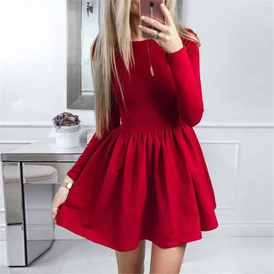 Summer Dress 2018 New Fashion Women Long Sleeve Solid Ball Gown Casual Dress O-Neck Cute Mini Party Dresses Vestidos $21.67