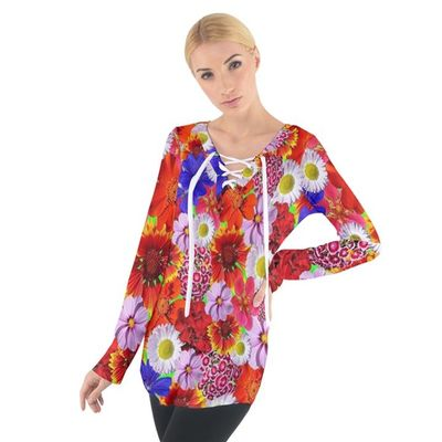 Multicolored Daisies Tie Up Tee