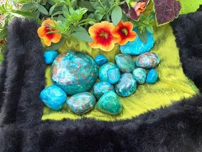 Chrysocolla polished and raw palm stones $5.55