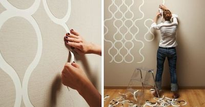 """Applying wallpaper to walls has never been so fun. With this perforated """"tear off"""" wallpaper from ZNAK, you can customize the appearance of your space by t"""