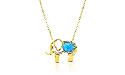 "Opal Created Elephant Necklace with Swarovski Crystals 18"" - Gold $17.00 Free Shipping"