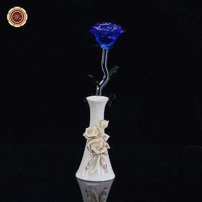 WR Novetly Forever Crystal Rose Christmas Home Decor Valentine's Day Long Stem Rose with Vase Decorations for New Year (Size: 40 $56.00