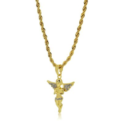 Gold Plated Praying Winged Angel Pendant Rope Chain Necklace £16.95