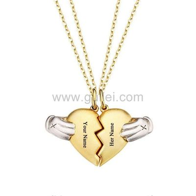 Gullei.com Magnetic 2 Hearts Couple Necklaces Gift for Boyfriend Girlfriend
