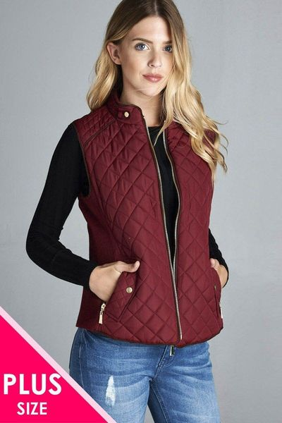 Quilted Padding Vest With Suede Piping Details $35.01