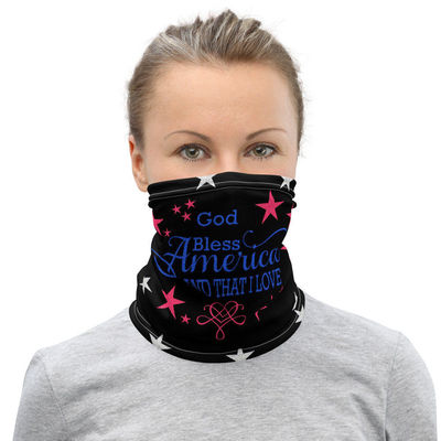 Patriotic Face Mask Neck Gaiter, God Bless America, All-Over Print Unisex Face Cover, Face Mask For Men and Women $17.95